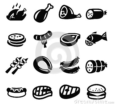 Free Meat And Sausage Icons Stock Photography - 33148522