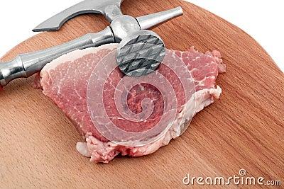Meat cleaver in fresh pork chops