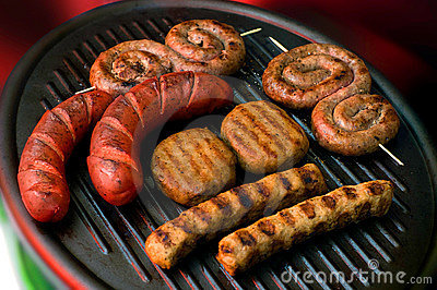 Meat collection on grill