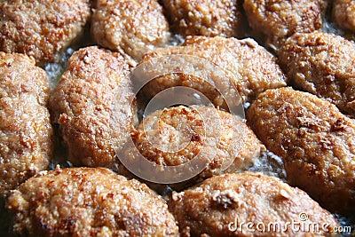 Meat cutlets fried on frying pan