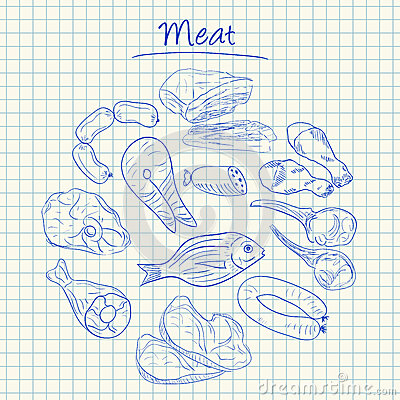 Meat doodles - squared paper