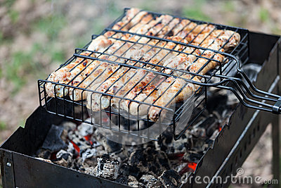 Meat kebab food grilled on barbecue