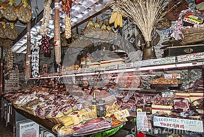 Meat Market in Florence Italy Editorial Image