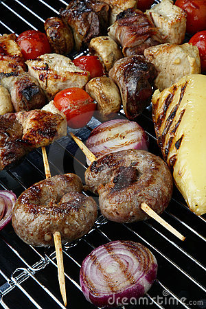 Meat mix with vegetable on grill