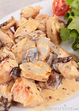 Meat with mushroom sauce