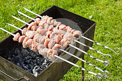 Meat pieces cooking on a skewer