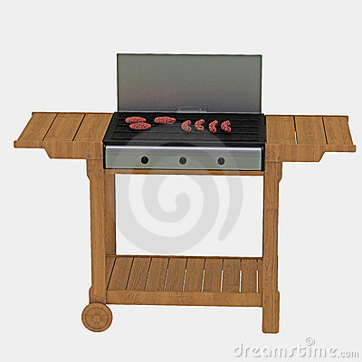 Meat on portable barbecue