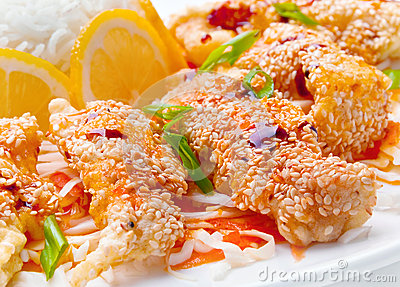 Meat with sesame