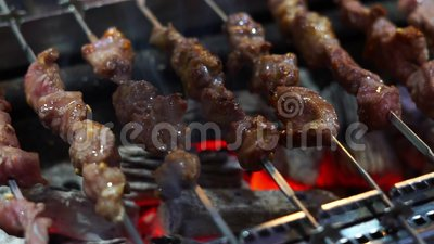Meat skewer on the grill. Beef skewer stock video footage