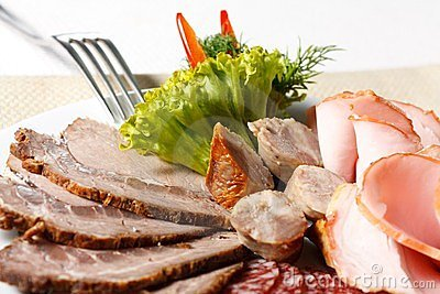 Meat sliced on a plate