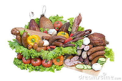 Meat and vegetable display