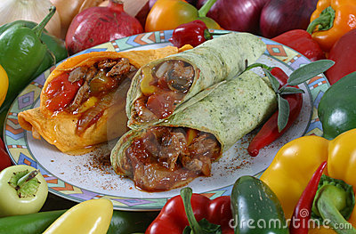 Meat wraps and vegetables