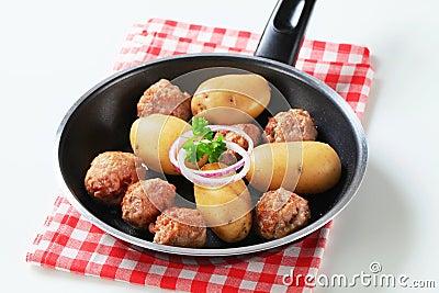Meatballs and potatoes