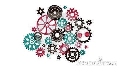 Mecanismo complejo complicado del reloj de diferente en engranajes de la forma y del tamaño libre illustration