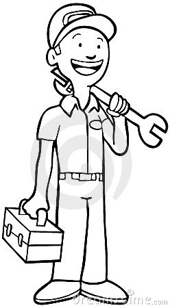Mechanic - Black And White Royalty Free Stock Photography ... Underwater Clipart Black And White