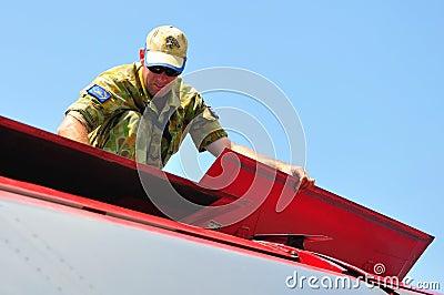 Mechanic checking General Dynamics F-111 Editorial Photo