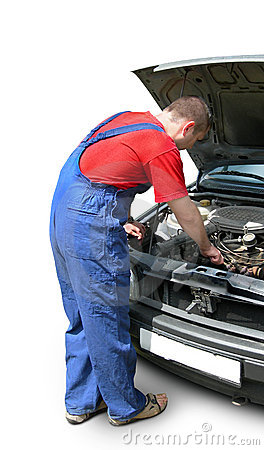 Mechanic fixing car engine