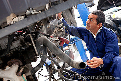Mechanic fixing car problem