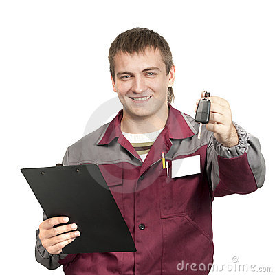 Free Mechanic Giving A Car Key Stock Photos - 16357593