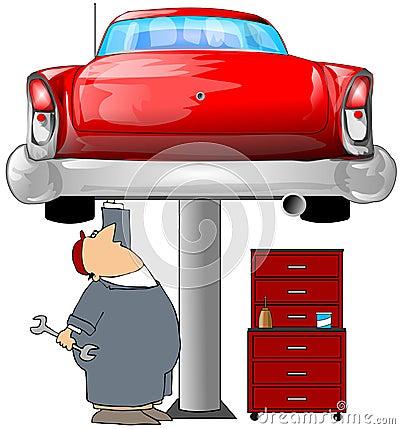 Mechanic & A Red Car
