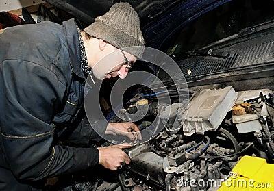 Mechanic repairman at car repair