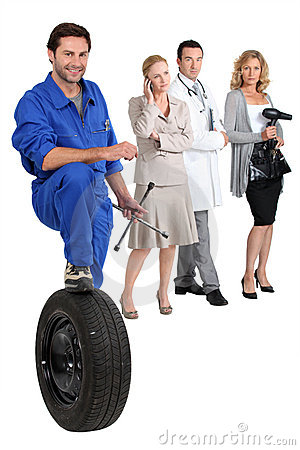 Mechanic, secretary, doctor and hairdresser.