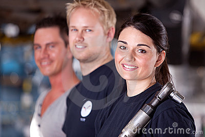 Mechanic Team with Woman