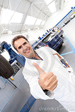 Mechanic with thumbs up