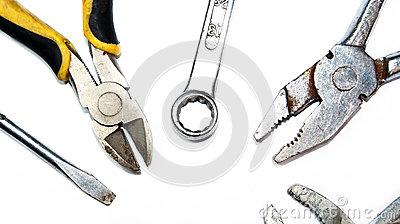 Mechanic tools on white