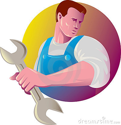 Mechanic tradesman worker spanner Stock Photo