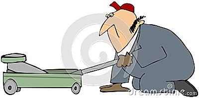Mechanic Using A Floor Jack