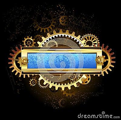 Mechanical blue banner