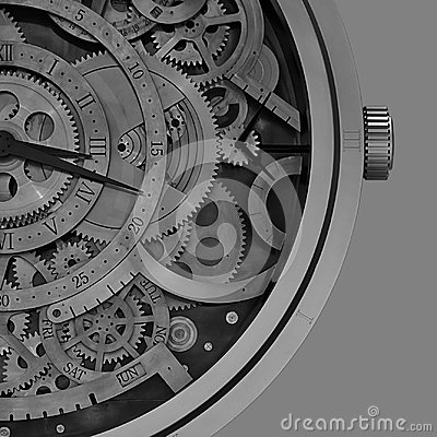 Free Mechanical Clock Details With Geometric Patterns Inside Stock Photography - 118382482