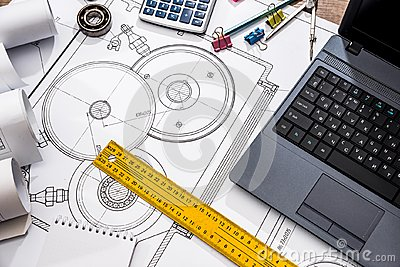 Mechanical engineering of parts with tools, laptop Stock Photo