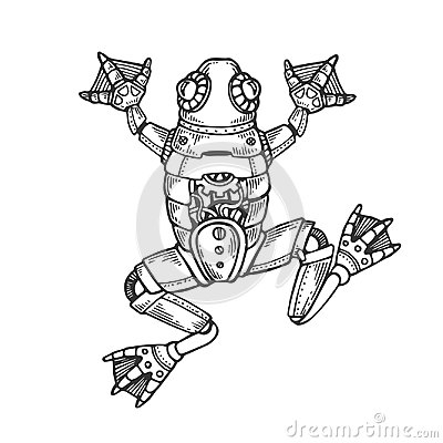 Free Mechanical Frog Animal Engraving Vector Royalty Free Stock Photography - 120772447