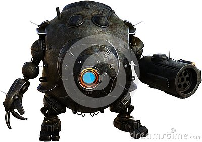 Mechanical Machine Robot Droid Isolated Stock Photo