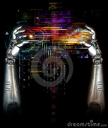 Free Mechanical Robot Hands Royalty Free Stock Photos - 13443298