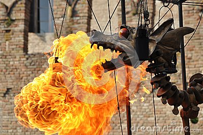 Mechanical steel steampunk-like dragon emit fire