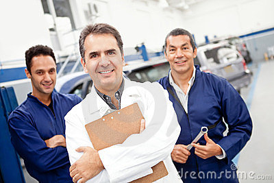 Mechanics at a garage