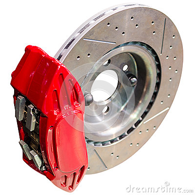 Mechanism of automobile disc brakes: assembled caliper with disk