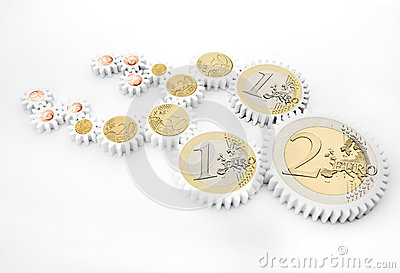 Mechanism of gears with euro coins