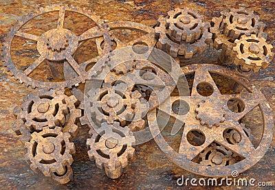 Mechanism of gears rusted