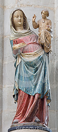 Free Mechelen - The Carved And Polychrome Statue Of Gothic Madonna From 14. Cent. In Church Our Lady Across De Dyle. Stock Image - 42844541