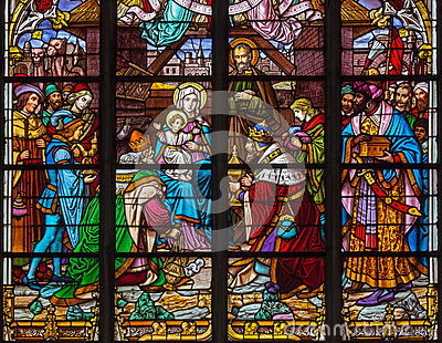 Mechelen - Three Magi scene from windowpane of St. Rumbold s cathedral