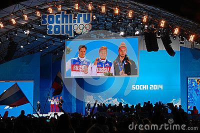 Medal ceremony at XXII Winter Olympic Games Sochi Editorial Stock Photo