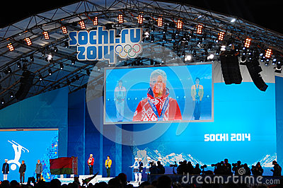 Medal ceremony at XXII Winter Olympic Games Editorial Stock Image