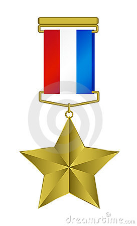 Medal - gold star with tricolor ribbon