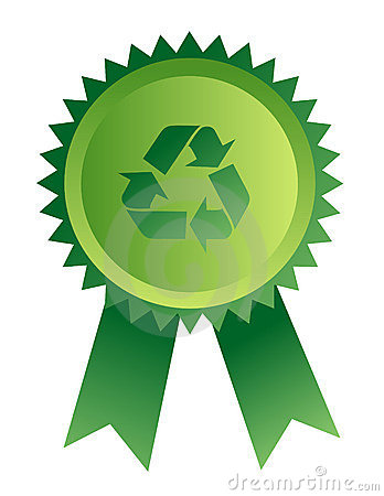Medal with recycle sign