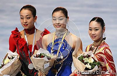 Medalists in ladies single skating Editorial Photo