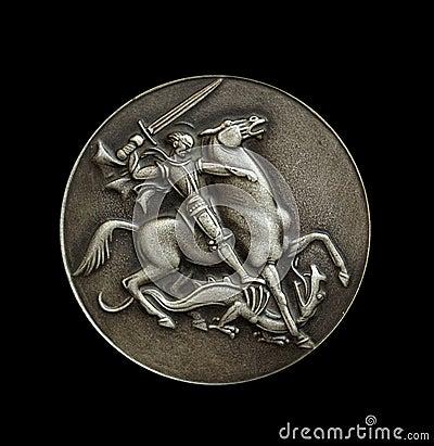 Medallion over black
